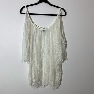 Lace swimsuit cover up cream 2X